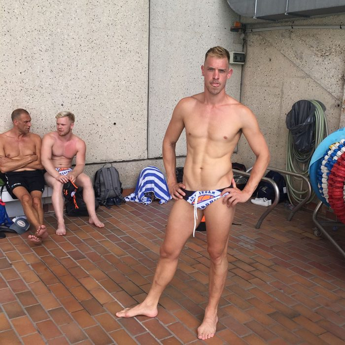 Guus Voogt posing in his Speedo