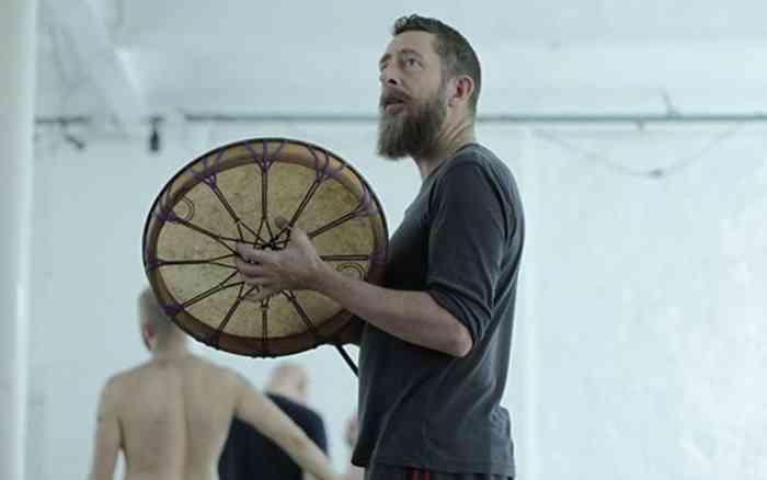 retreat for gay men Daan Van Kampenhout beats a drum